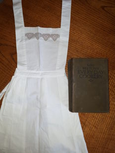 Mrs Isabella Beeton - Every-Day Cookery [together with:] an antique Victorian apron  - 1923