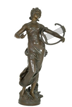 "Auguste Moreau (1834-1917) - large zamak sculpture of lady with lyre entitled 'Harmonie' (""Harmony"") - France - circa 1900"