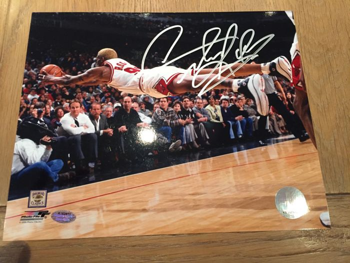 Dennis Rodman signed Bulls 8x10 Photo (Schwartz Sports COA)