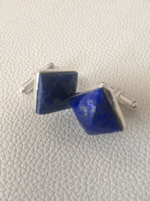 Lapis Lazuli Faceted Cabochon  cufflinks 925 silver - No reserve