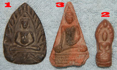 3Antique amulet Buddha - Thailand - 17th 18th 19th century