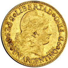 Argentina - 5 gold pesos (8.04 g, 22 mm) 1883. Republic of Argentina.