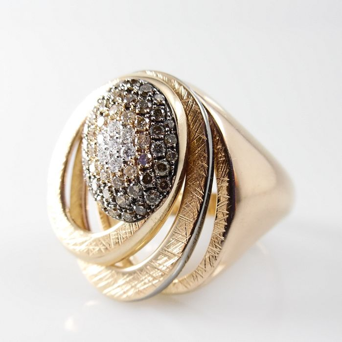 18 kt Rose gold design ring with movable discs and 57 brilliant cut diamonds - ring size 17.5 mm (55)