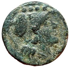 Roman Republic - Anonymous bronze triens (4,54 g. 20 mm.).  Rome mint, after 211 B.C. Prow of galley, ROMA and four pellets.