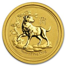 Australia - 5 dollars 2018 'Year of the Dog'  - 1/20 oz gold