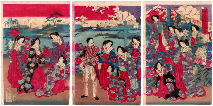 Original woodblock triptych by Toyohara Chikanobu (1838-1912) - The Flower Garden of the Emperor - Japan - 1880