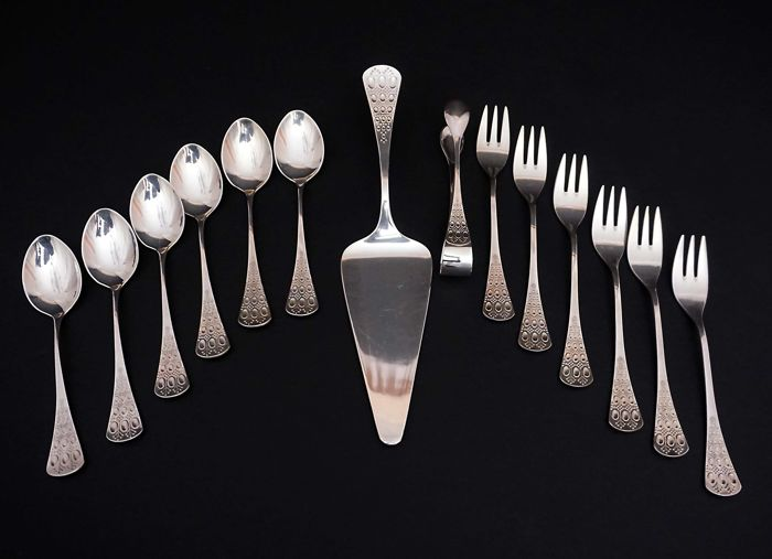 Set for Desserts of the 'Romance' Series. - .925 silver - Rosenthal AG - Germany - mid 20th century