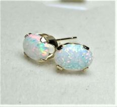 14 kt earrings with white opals, diameter: approx. 0.8 x 0.6 cm
