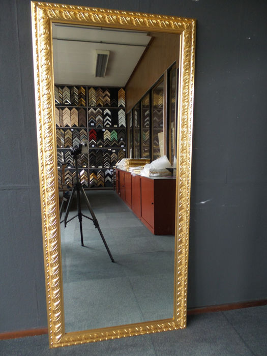 Extremely large Italian wall mirror - facet cut glass - hand gilded - 77 x 169 cm