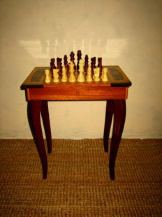 Vintage Italian chess table Intarsia wood with Swiss music box - Vintage Italian Chess table inlaid wood