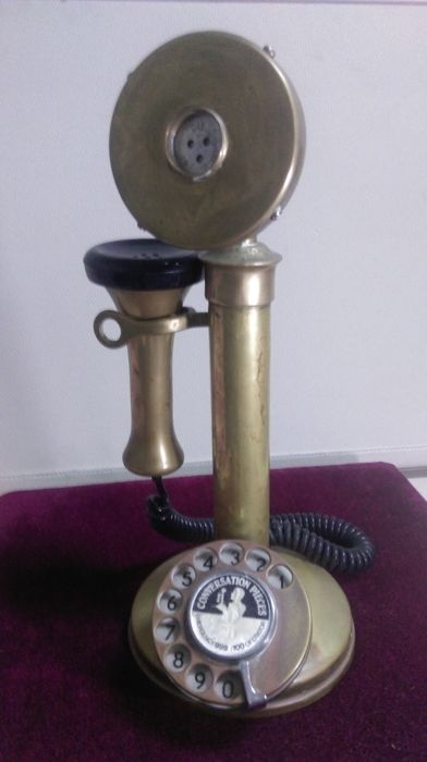 Phone style candlestick in brass, England, mid-20th century