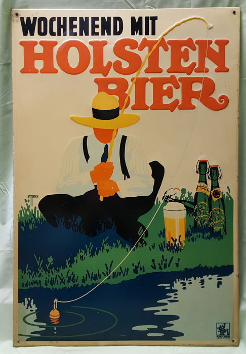 "Original ""VOCHENEND MIT HOLSTEN BIER"" advertising board - No copy"