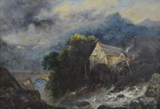 Follower of John Constable - A watermill by a river
