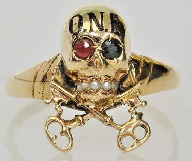 1920s, 18k Yellow Gold Skull emerald and ruby