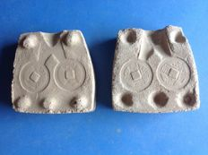 China, Qing dynasty - Complete clay mould for casting a Qing dynasty coin c. 1644 or later