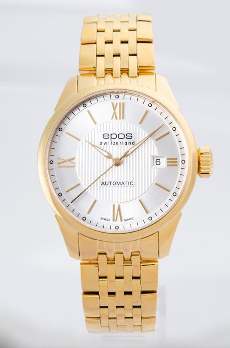 Epos - Yellow gold plated automatic  Men's watch - 3426-S/S-YG-SLV - Miehet - 2011-nykypäivä