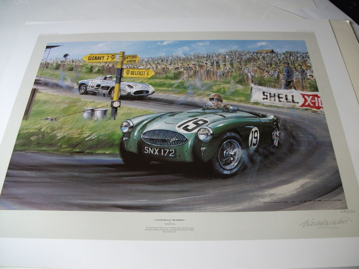 Austin Healey 100 Sebring driven by E. McMillen and M Llewllyn Tourist Trophy 1955  Print Limited Edition by Nicholas Watts