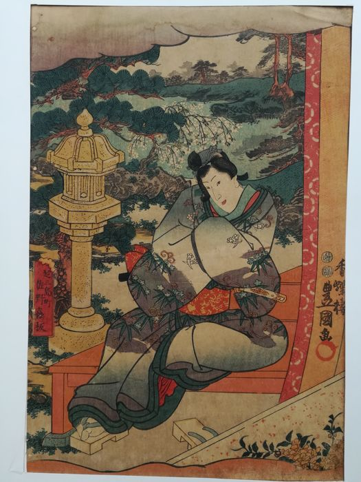 "Original print by Utagawa Kunisada 歌川国貞 (1786-1865) - Scene of 'Inaka Genji' from the series ""Eastern Magic Lantern Slides in Edo Purple"" - Japan - 1847-52"