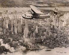 Unknown/Keystone - America's largest amphibian plane over New York, 1931
