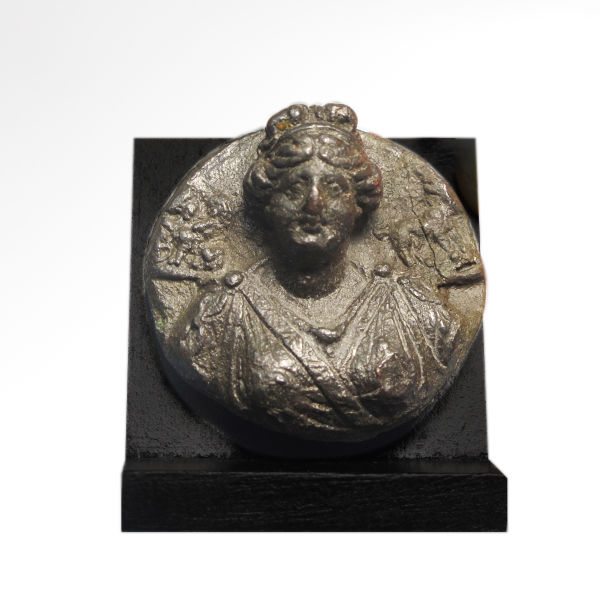 Roman Bronze Medallion Attachment, Bust of Aphrodite, 3.6 cm D