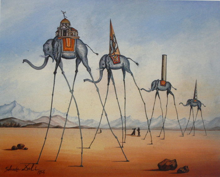 Salvador Dalí (after) - Elephants Giraffe