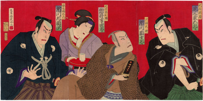 Original woodblock triptych by Adachi Ginko (1853-1902) - The Actors' Theater - Japan - 1879