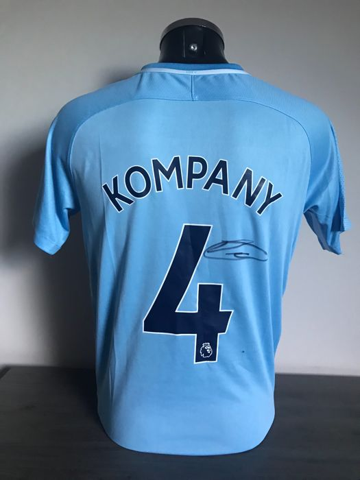 new york b781d 2d9da Vincent Kompany signed Manchester City home 2017-2018 shirt ...