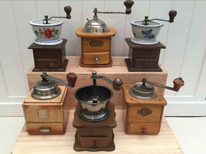 Collection of six antique coffee grinders - various models