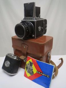 """""""Salute-C"""" with a """"Vega-12B"""" lens. The factory passport. Prototype """"Hasselblad 1600F"""". The USSR """"Arsenal"""" 1957-1980"""