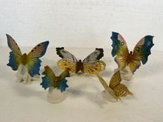 Volkstedt, Karl Ens - Lot with five fine, colourful butterflies