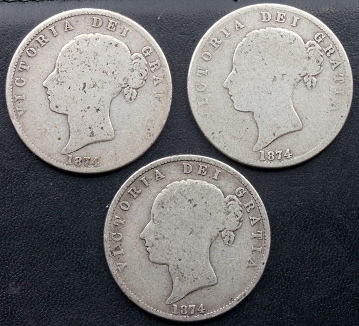 United Kingdom - ½ Crown 1874 Victoria (3 coins) - silver