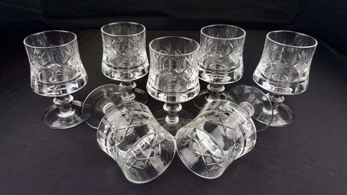Seven beautiful hand-cut molato crystal glasses - France, early 20th century