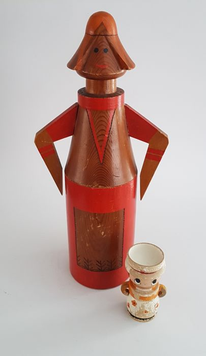 Teak - Danish Design - Bottle holder and egg-shell