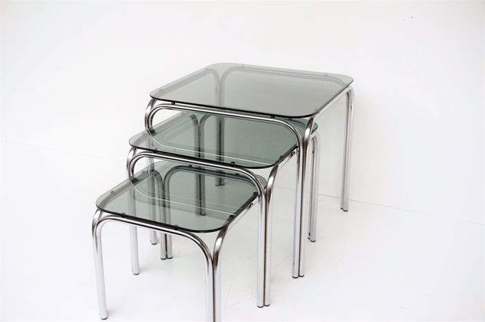 Manufacturer unknown - Vintage chrome stacking tables set
