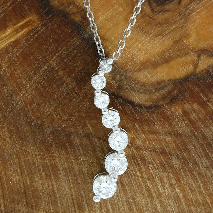 14kt white gold 050 ct diamond journey pendant necklace 45 cm 14kt white gold 050 ct diamond journey pendant necklace 45 cm no reserve price aloadofball Images