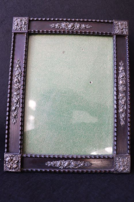 Antique frame , pau santo and silver , Portugal 19th  century