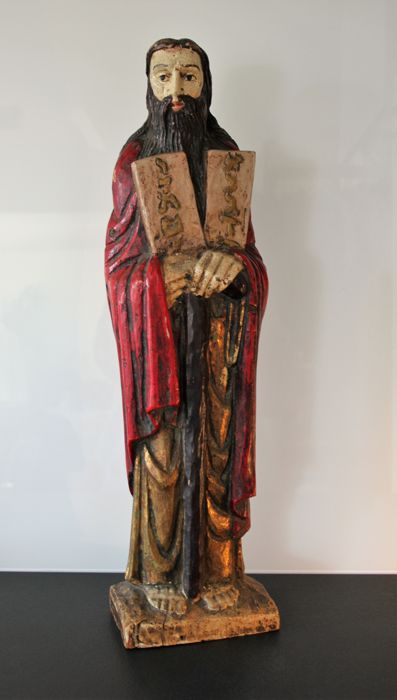Moses with The Tables of the Law - Polychrome wood sculpture - 19th/20th century