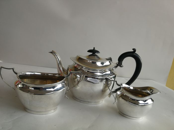 Old three-piece silver plated tea set marked Martin Hall u0026 Co. England & Old three-piece silver plated tea set marked Martin Hall u0026 Co ...