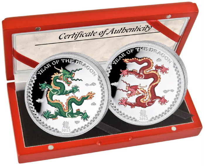 Palau - 5 Dollar 2012 Jahr des Drachen - coloured - 2 x 1 Oz - Silver
