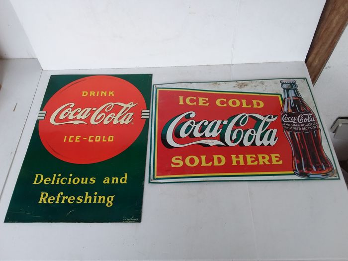 Tin Coca Cola signs from the USA. 1989.