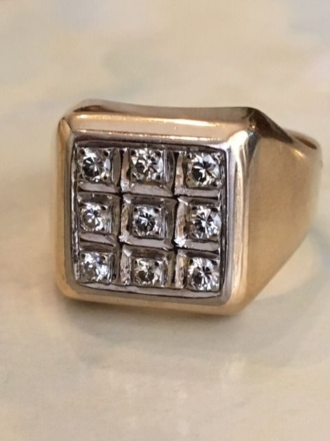 14 kt yellow gold men's ring with diamonds, approx. 0.55 ct, J/SI