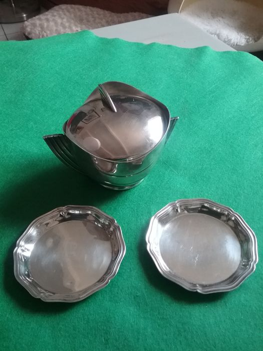 silver plated metal container and 2 wine-tasting cups from Christofle