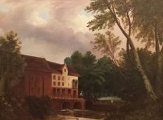 Unknown - 19th centuryNaive School Oil on Canvas of a Watermill