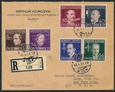 "Austria 1936 – ""inventor"" 12 Gr. to 64 Gr. On registered letter to the USA – Michel 632-637"