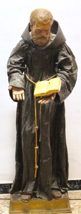 Saint Anthony large size (119cm) with glass eyes - Polychrome wood - 17th/18th century