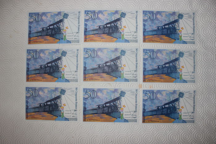 France - 9 x 50 Francs - 1992 (3), 1993 (3) and 1994 (3)