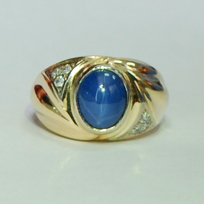 New man gold ring made 14 kt. yellow gold with 5.1 carat natural ...