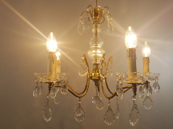 Chandelier set with oak leaf crystals and almond crystals