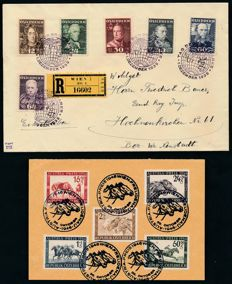 "Austria 1937/1946 – ""military leader"" 12 Gr. to 64 Gr. on FDC and first day card horse race – Michel 617-622, 785-789."