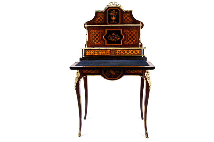 a louis xv style marquetry bureau de dame inlaid in different woods france late 19th. Black Bedroom Furniture Sets. Home Design Ideas